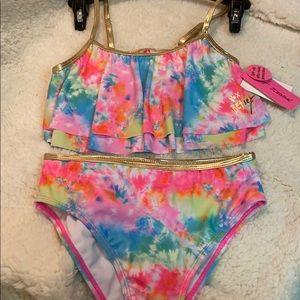 Betsey Johnson girls 2 piece swim suit.